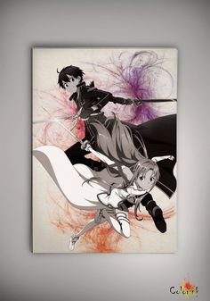 Sword Art Online Kirito Watercolor Print  Archival by ColorInk