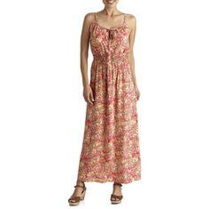 Faded Glory Women S Tie Neck Challis Maxi Dress