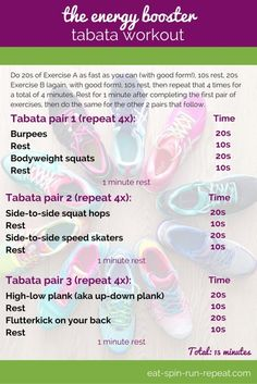 Fit Bit Friday 238: The Energy Booster Tabata Workout: In just 15 minutes, you'll have worked your body from head to toe, and feel ready to take on the world!