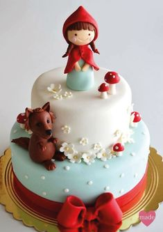 Little Red Riding Hood Cake Pretty Cakes, Cute Cakes, Beautiful Cakes, Amazing Cakes, Fondant Cakes, Cupcake Cakes, Bolo Laura, Baby Birthday Cakes, Character Cakes