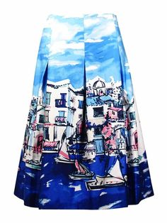 Charter Club Women's Scenic Print Pleated A-Line Skirt