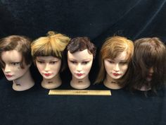 ASSORTMENT OF COSMETOLOGY MANICURE SALON PRACTICE HAIRDRESSING TRAINING HEADS, ALL NICKI