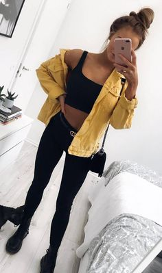 black and yellow | crop top + skinnies + boots + jacket + bag