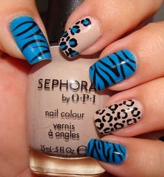 nice blue nail art for 2014