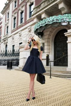 little black dress with classic pumps