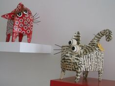 Paper mache cats. Gloucestershire Resource Centre http://www.grcltd.org/home-resource-centre/