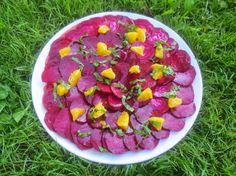 Rote Bete Carpaccio mit Orangen-Olivenöl-Emulsion - http://barbaras-spielwiese.blogspot.de/2014/09/rote-bete-carpaccio-orangen-olivenol.html