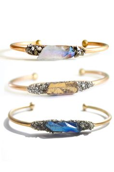 Raw crystal cuffs / bangles | jewelry design