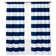 Twill Light Blocking Curtain Panel Navy Stripe - Pillowfort™