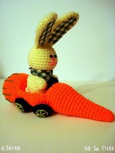 Crocheted amigurumi bunny and his carrot car @AllSoCute Amigurumis Amigurumis Amigurumis Amigurumis #amigurumi