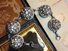 Antique Button Bracelet vintage rhinestones by OldNouveau on Etsy
