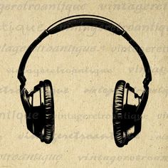 Digital Printable Headphones Graphic Music Illustration Image Download Vintage Clip Art. Vintage high resolution digital image for printing, transfers, tote bags, tea towels, and more great uses. Real antique art. Personal or commercial use. This graphic is high quality at 8½ x 11 inches large. Transparent background version included with all images.