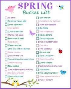 Printable Spring Bucket List