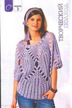 Patrón #721: Blusa calada a Crochet | CTejidas [Crochet y Dos Agujas]