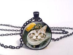 Victorian Kitty Necklace, Victorian Proper Kitty Jewelry, Fancy Victorian Kitty Art Pendant, Victorian Kitty Charm via Etsy