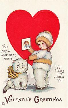 """You are a Nice Kitty, Fluffs..."" vintage Mary E Price Valentine postcard"