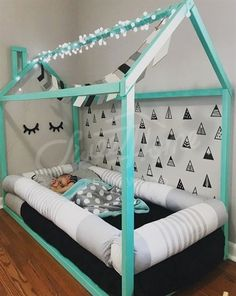 Black, white and mint kids room idea, toddler bed, house shaped bed, nursery wood house bed bed home Montessori toy frame bed original bed home bed floor bed developing toy Toddler Floor Bed, Diy Toddler Bed, Toddler Rooms, Toddler Boy Room Ideas, Toddler House Bed, Toddler Beds For Boys, House Beds For Kids, Boy Toddler Bedroom, Baby Bedroom