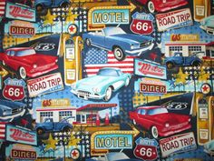 HISTORICAL LICENSE PLATES RED WHITE BLUE USA RT 66 COTTON FABRIC BTHY