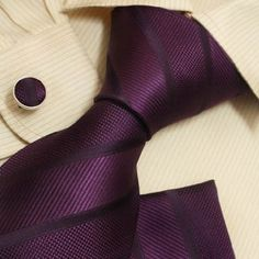 Purple Ties for Men Stripes Tie Handkerchiefs Cufflinks Set with Gift Box By Y H5049: Amazon.com: Clothing