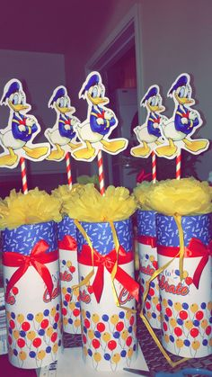Donald Duck centerpieces - My WordPress Website Donald Duck Party, Daisy Duck Party, Donald And Daisy Duck, 1st Birthday Party Themes, Baby 1st Birthday, Duck Cupcakes, Mickey Mouse Clubhouse Party, Baby Shower Duck, Mickey Mouse And Friends