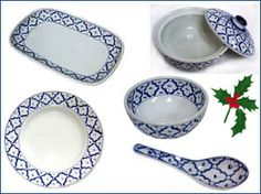 ImportFood.com handpainted Thai ceramic tableware  sc 1 st  Pinterest & Blue \u0026 White Thai tableware - Pineapple design ceramic Dinnerware ...