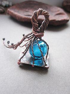 Copper Cage Blue Glass Pendant by Mary Bulanova