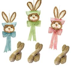 """Burton & Burton Hanging Bunny Head & Legs Choose style by hat color. Hats and bows made of burlap with faded look shading. Hanging brown bunny heads with matching hats and bows. Legs made of sisal material like heads. Head has large jute string for hanging and legs have a wireHead: 32""""H X 9""""W X 4 1/2""""D (length measured from the top of the ears to the tip of the bow tails) tip of ears to neck 16""""; cheek to cheek 8""""; 5"""" depth Legs: 14"""" length; 9&q..."""