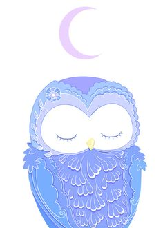 Pretty Purple Owl Under a Sleepy Moon Greeting Card by Faunadesigns $4.50