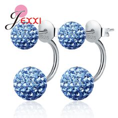 PATICO Candy Color Shinning Full Crystal CZ Double Ball Stud Earrings for Women 925 Sterling Silver Brincos Jewelry 10 Color