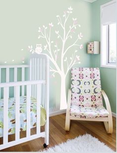 Vinyl Wall Decal Sticker Childrens Tree with Flower Blossoms and Owl Baby Girl Boy Nursery