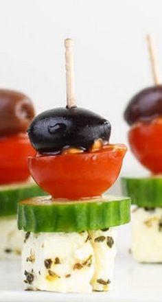 Greek Salad Skewers - Garnish with Lemon