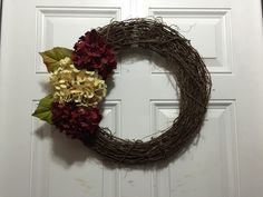 """14"""" Grapevine Wreath with Hydrangea Accents by TheWhiteBow on Etsy https://www.etsy.com/listing/242684624/14-grapevine-wreath-with-hydrangea"""