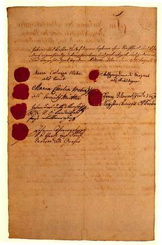 "Mozart and Constanze's marriage contract of August 3, 1782. The bride, age 20, signed as ""Maria Constanza Weber"" on the top left side. Under her name are the signatures of her mother, a witness and her guardian (Constanze's father was deceased). Mozart, age 26, signed as ""Wolfgang Amadé Mozart"" on the top right side. Under his name is the signature of the clergyman.  (Source - The chronicles of  a modern day mozartian)"