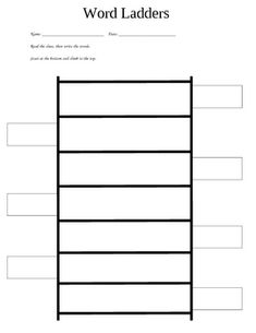 This is a word ladder template. All you need to do is fill in the blanks with correct words. Phonics Words, Spelling Words, Cvc Words, Phonics Reading, Kindergarten Reading, Word Study, Word Work, Word Ladders, First Grade Phonics