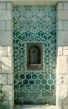 Pewabic Pottery - water fountain on Grosse Ile, Michigan. Handmade tiles can be color coordinated and customized regarding shape, texture, pattern, et cetera. Mosaic Tiles, Wall Tiles, Gaudi, Pewabic Pottery, Green Color Schemes, Fireclay Tile, Tiles Texture, Ceramic Design, Ceramic Decor