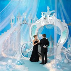 It Can Happen to You Complete Theme | DIY Disney Inspired Reception - Item # 05G0 - Fairy tales do come true; it can happen to you. Treat your young hearts to an evening of pure romance with the It Can Happen to You theme. Complete Theme Includes: 1 Cinderella's Coach Kit 1 Stairway To A Castle In The Clouds Kit 1 Fairy Tale Floor Lanterns Kit 1 Set of Materials to Construct Balloon Clusters, Pathway, and Silver Slipper - This is a Different Company - Cinderella Theme Reception. DIY.