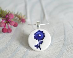 Delft blue necklace ceramic pendant necklace royal by islaclay