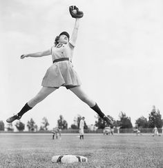 """""""A league of Their Own"""" This is a picture of Dorothy Harrell. She was a short stop for the Chicago Colleens, a team in the All American Girls Professional Baseball League. This was one of the first all women's league. The league was created because many of the men were away fighting in World War II, and when the war was over the league lost all of its popularity because Major League baseball returned."""