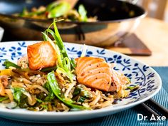 This salmon stir fry recipe is a favorite! It's full of healthy omega 3 fats, protein, and fibrous vegetables. The flavor in this dish is unmatched, try this easy to make recipe tonight!