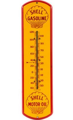 Rare Original Shell Gasoline Porcelain Thermometer