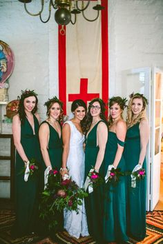 Jessie and Phill's wedding at Race & Religious in New Orleans was an outrageous destination party completed with a second line and whimsical details. Emerald Green Bridesmaid Dresses, Green Wedding Dresses, Emerald Green Weddings, Fall Bridesmaid Dresses, Wedding Bridesmaids, Wedding Colors, Wedding Styles, Green Bridesmaids, Bride Dresses
