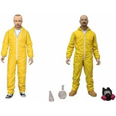 Mezco Toys Breaking Bad: Walter White and Jesse Pinkman featured in Yellow Hazmat Suits