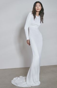 Ruby Long Sleeve Cutout Wedding Dress + The Made with Love collection reimagines some of the brand's most celebrated silhouettes and red-carpet offerings for the confident modern bride. Long Sleeve Wedding, Wedding Dress Sleeves, Designer Wedding Dresses, Bridal Dresses, Wedding Gowns, Modest Wedding, Wedding Outfits, Bridal Gown, Elegant Wedding