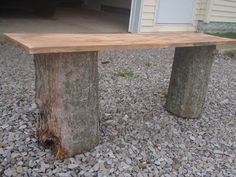 DIY wood benches...could be a bit more creative on the top board??? paint??? PINK & BLACK??? We have the tree stumps:)