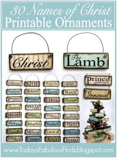 Printable Paint Stick Ornaments: Names of Christ. 30 names of Christ and 14 attributes of Christ. Christmas Activities, Christmas Printables, Christmas Projects, Holiday Crafts, Christmas Ideas, All Things Christmas, Christmas Holidays, Family Christmas, Xmas