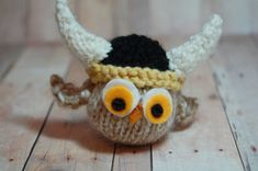 Owl with Viking Hat  Viking Owl  Nest  Ornament by SweetBauerKnits, $24.00