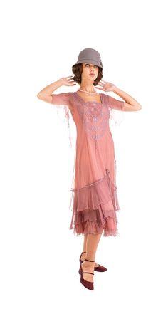 Age of Love Alexa Flapper Style Dress in Mauve by Nataya Flapper Style Dresses, Beaded Flapper Dress, 1920s Dress, Sequin Dress, Retro Fashion, Vintage Fashion, Men's Fashion, Top Wedding Dresses, 1920s Flapper