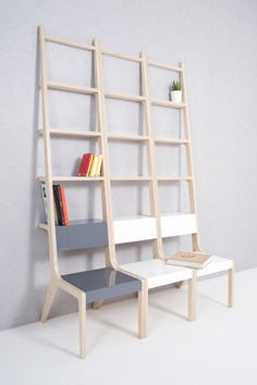 "Chair/ladder/bookshelf. Super cool.     ""If things are freed from their own unique functions, we might agonize over how to use this objects."" by Seung Yong Song."