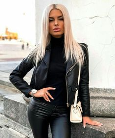 Leather Jeans, Leather Jacket, Girl Outfits, Fashion Outfits, Womens Fashion, Style Fashion, Girl Fashion, Cute Shoes Heels, Dyed Blonde Hair
