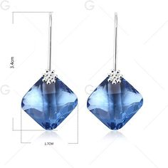 Artificial Crystal Geometric Drop Earrings ($5.50) ❤ liked on Polyvore featuring jewelry, earrings, blue crystal earrings, drop earrings, crystal jewelry, blue jewelry and blue crystal jewelry